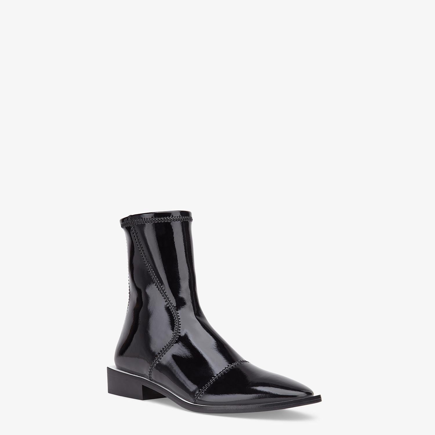 FENDI FFRAME - Glossy black neoprene low ankle boots - view 2 detail