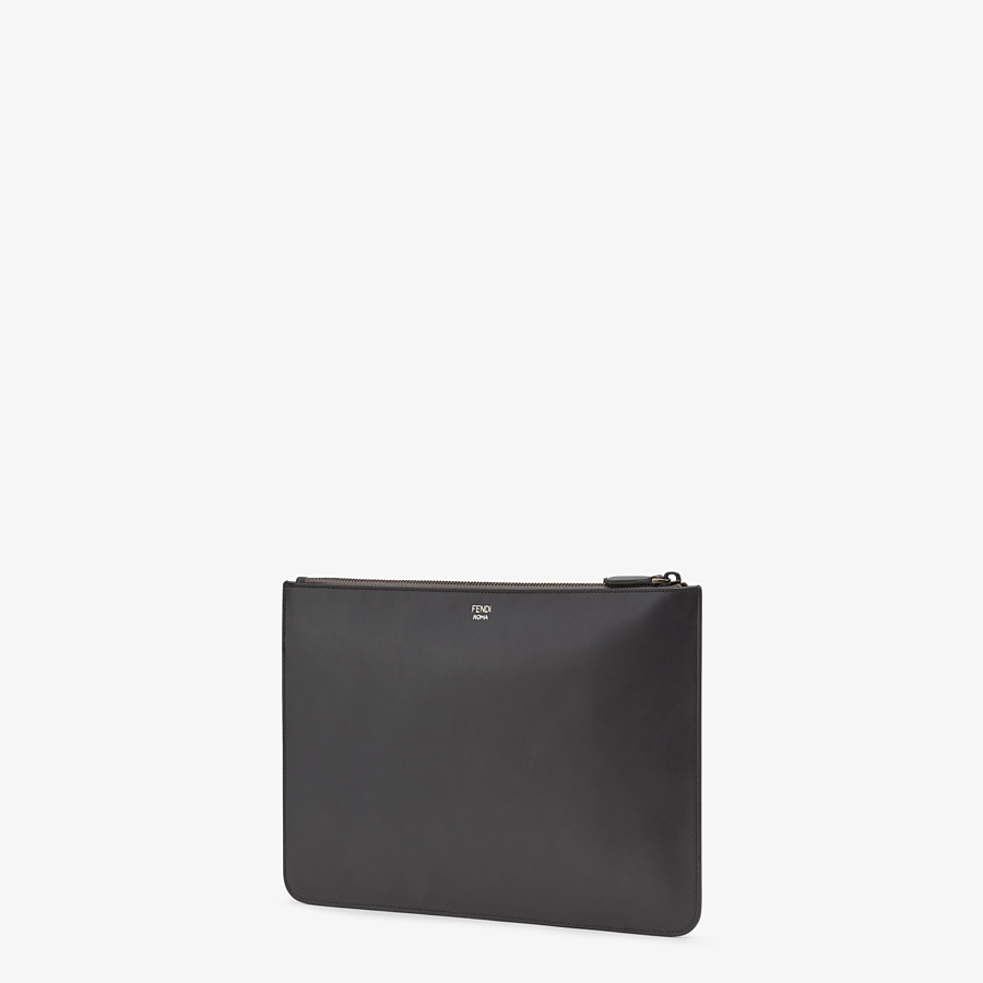 FENDI POUCH - in black Roman leather with insert - view 2 detail