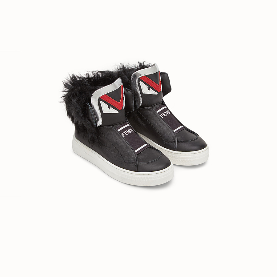 FENDI SHOES - Junior boy's black and silver nappa sneakers - view 2 detail