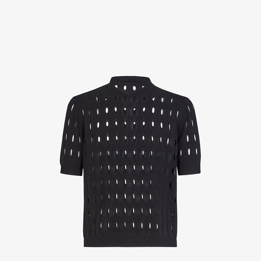 FENDI POLO SHIRT - Black cotton sweater - view 2 detail