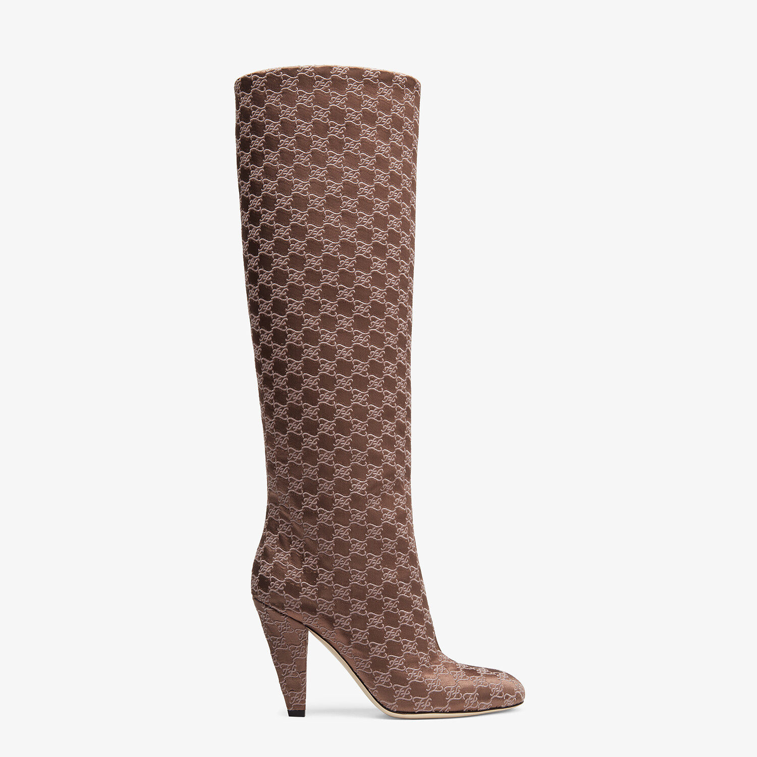 FENDI KARLIGRAPHY - High-heeled boots in brown fabric - view 1 detail