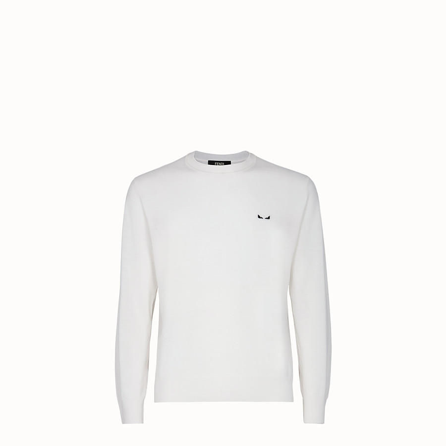 FENDI JUMPER - White wool jumper - view 1 detail