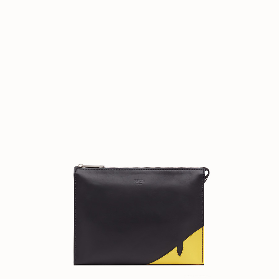 FENDI CLUTCH - Black calf leather pochette - view 1 detail