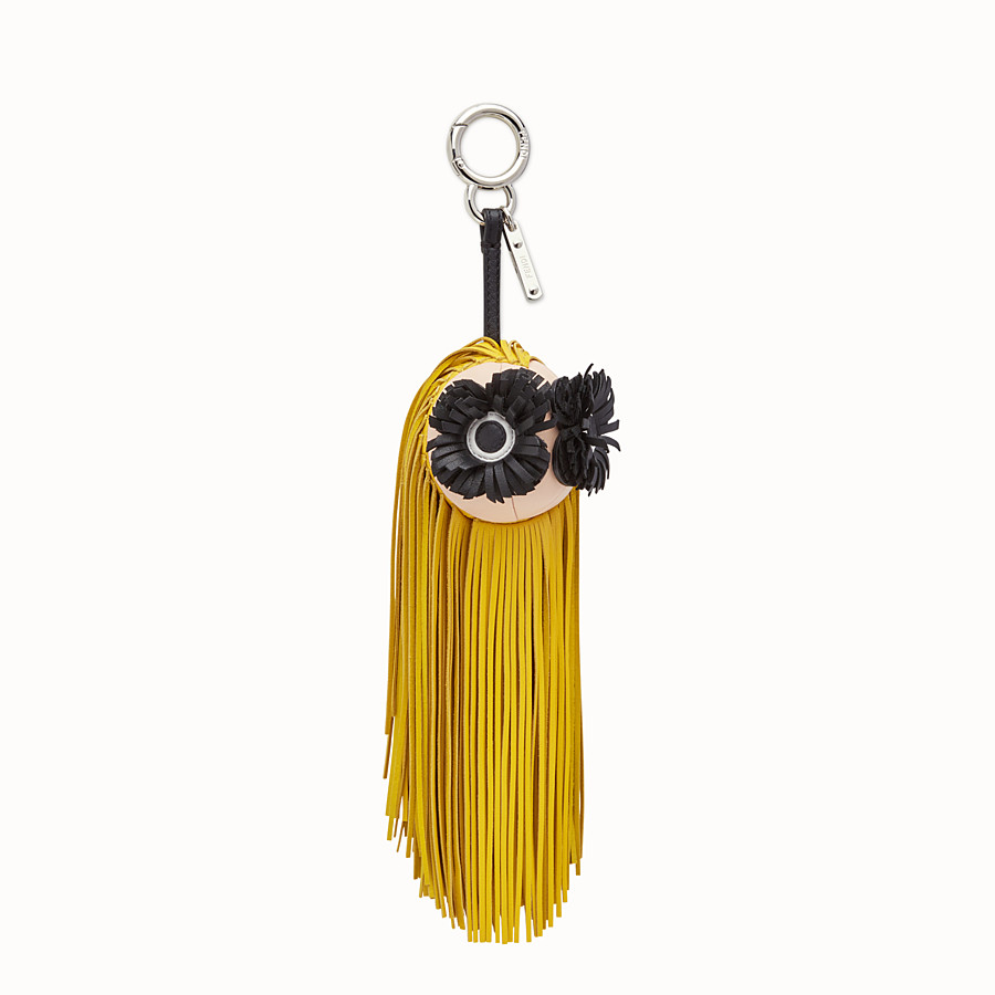 FENDI FRINGE-EYES CHARM - Charm with fringe in yellow leather - view 1 detail