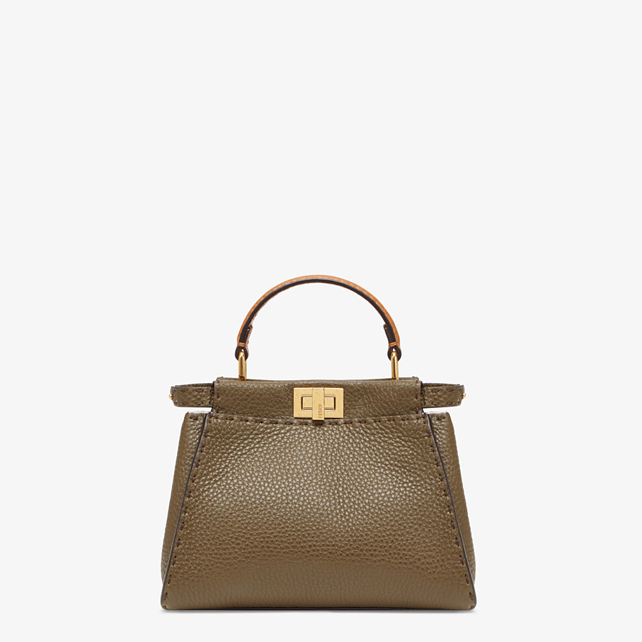 FENDI PEEKABOO ICONIC MINI - Brown leather bag - view 1 detail