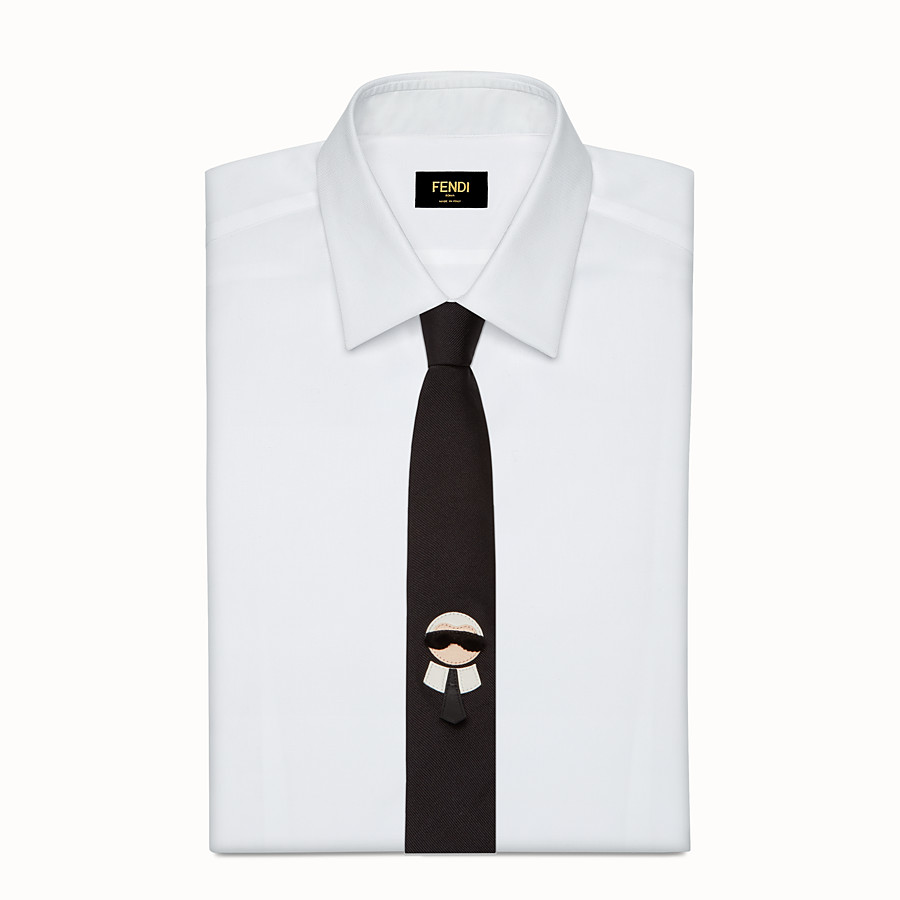 FENDI TIE - in embroidered black silk twill - view 2 detail