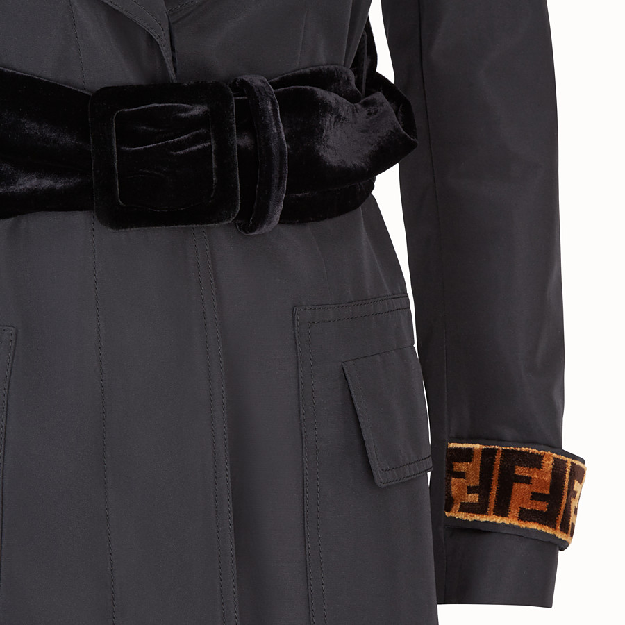 FENDI COAT - Black fabric trench coat - view 3 detail