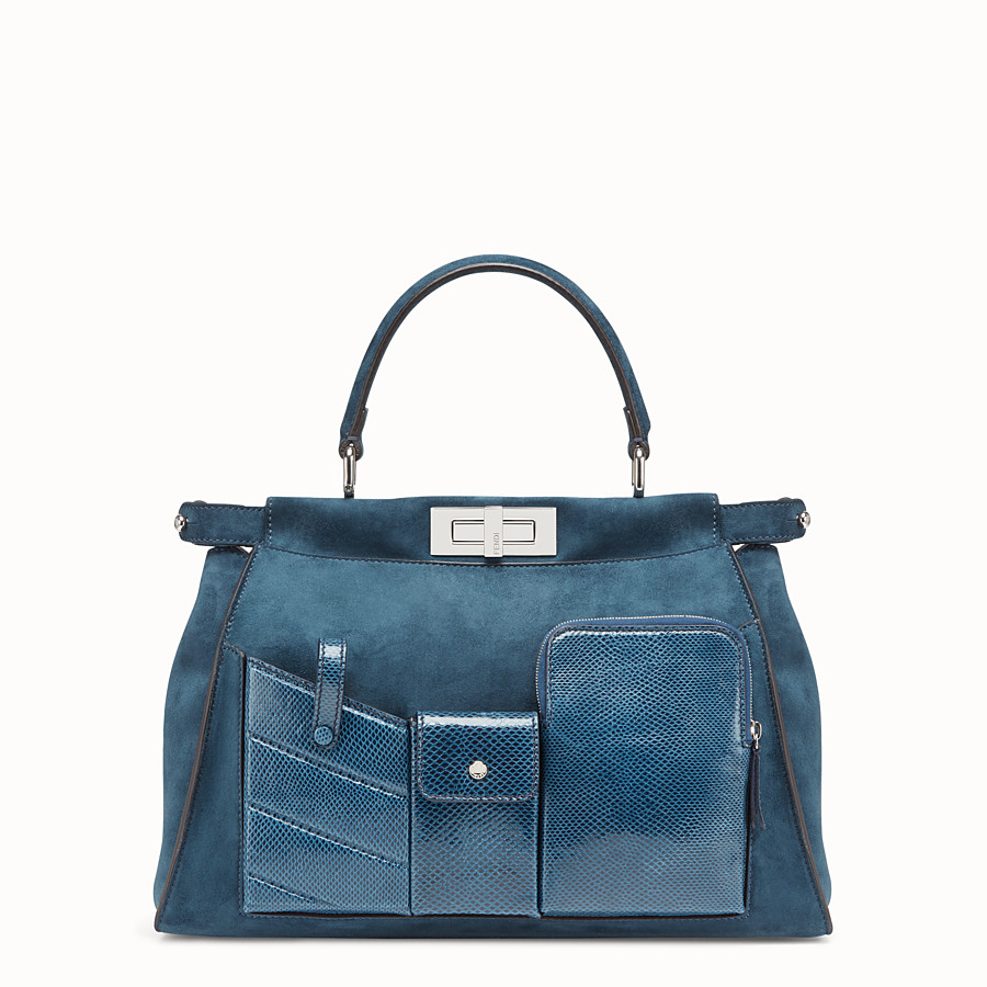 FENDI PEEKABOO ICONIC MEDIUM - blue suede bag with exotic details - view 2 detail