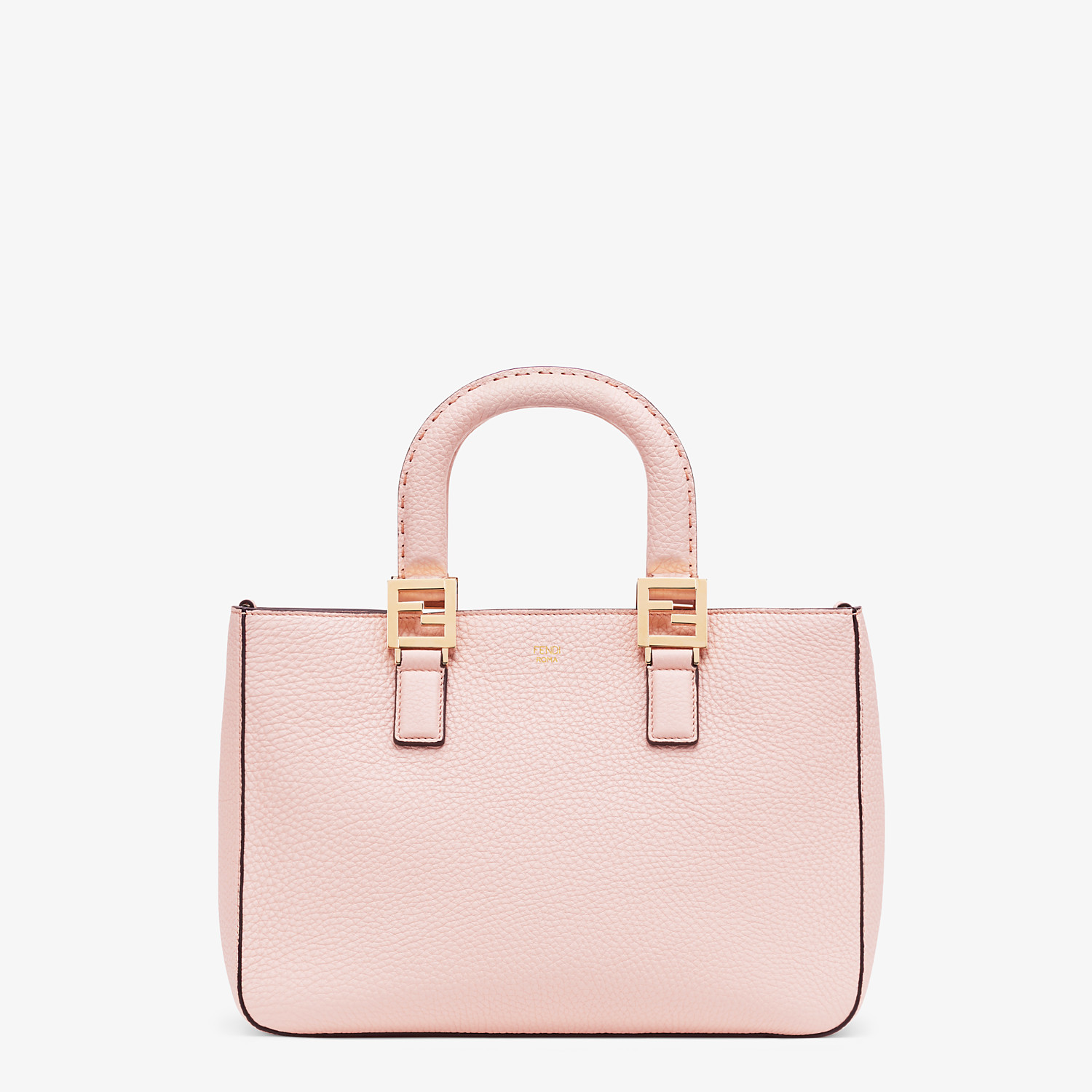 FENDI SMALL FF TOTE - Pink leather bag - view 1 detail