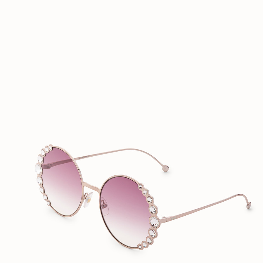 FENDI RIBBONS & CRYSTALS - Pink sunglasses - view 2 detail