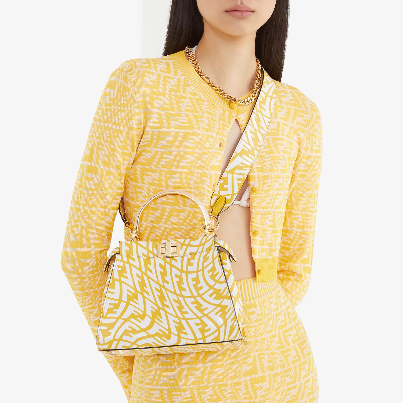 FENDI PEEKABOO MINI - Yellow and white FF Vertigo leather bag - view 2 detail
