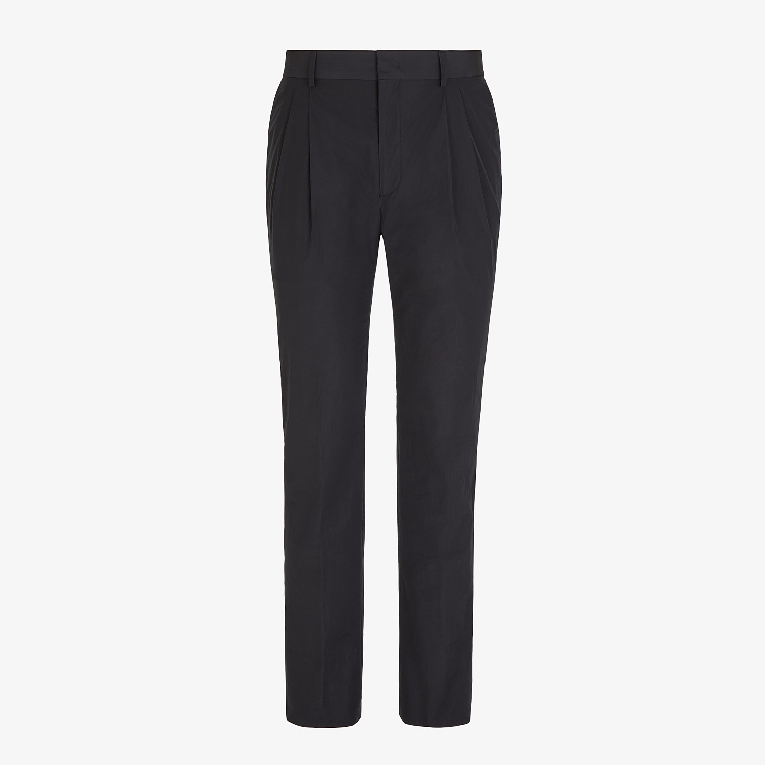 FENDI TROUSERS - Black nylon and cotton trousers - view 1 detail