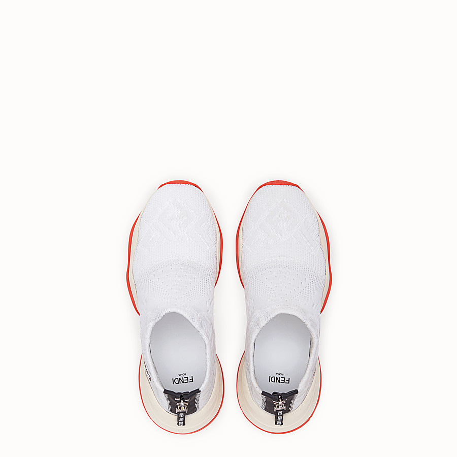 FENDI SNEAKERS - High-tech, white jacquard sneakers - view 4 detail