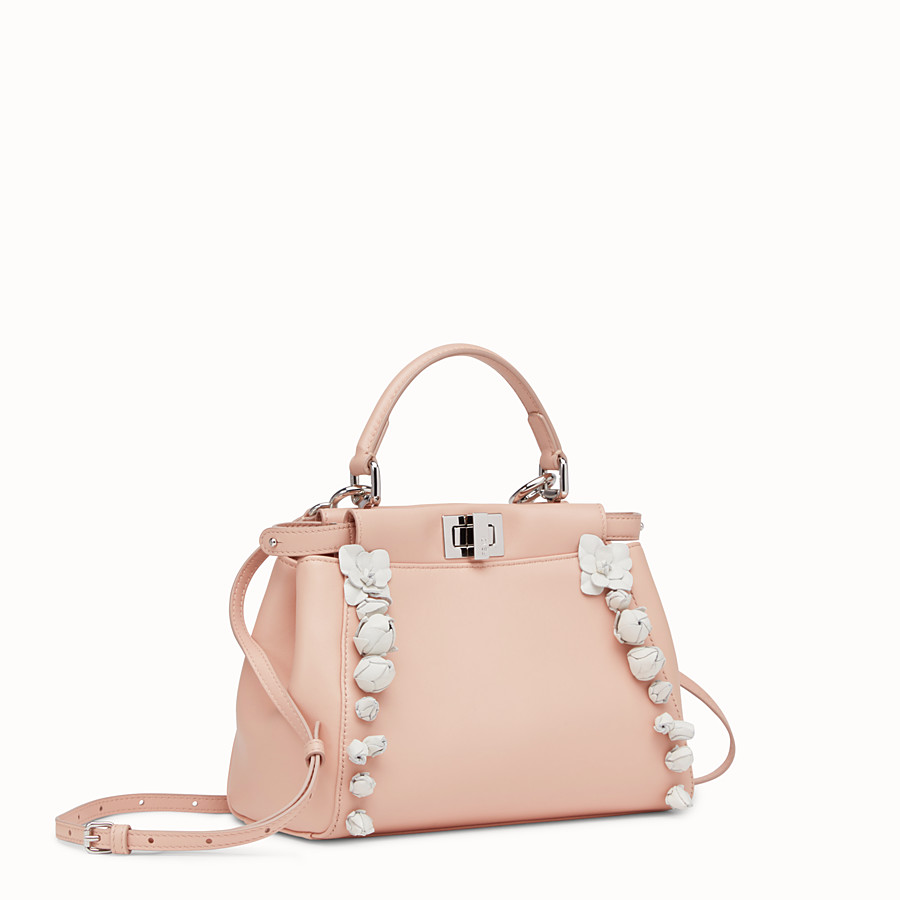 FENDI PEEKABOO - pink nappa leather handbag - view 2 detail