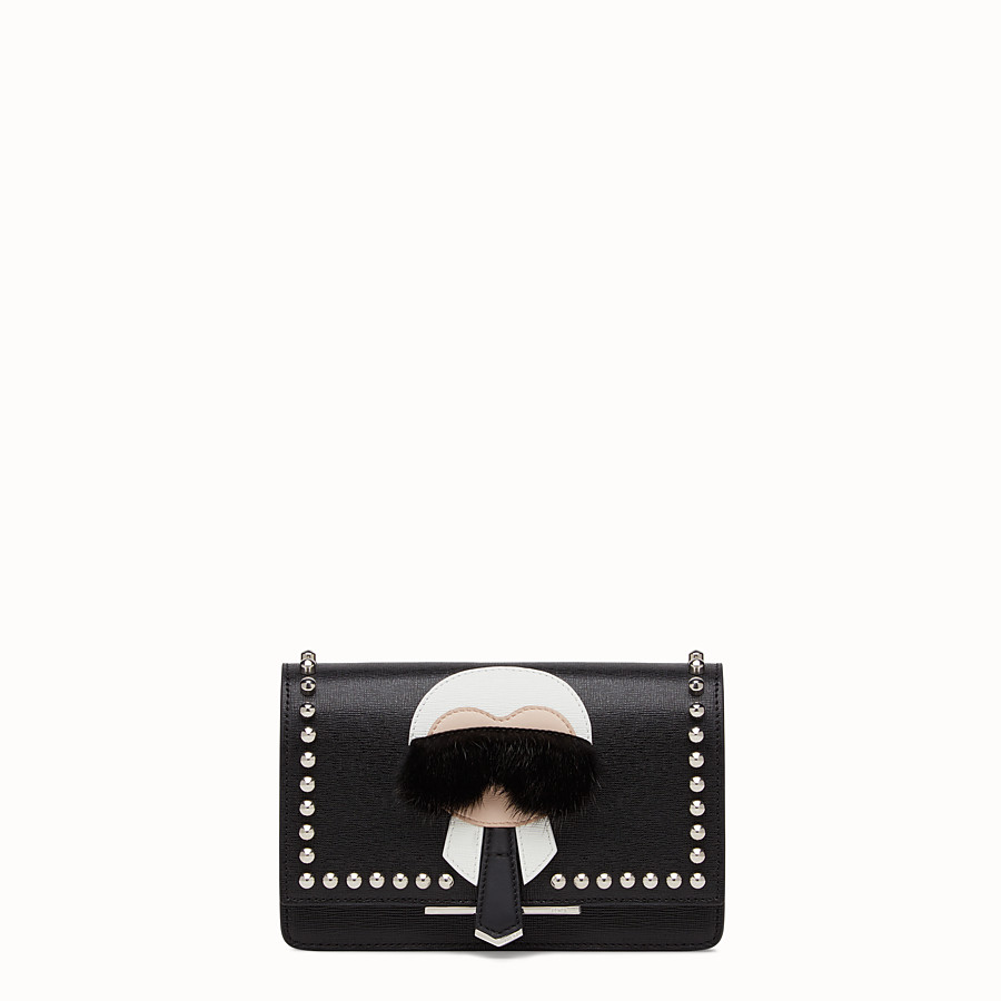 FENDI KARLITO WALLET ON CHAIN - in black leather with inlay - view 1 detail