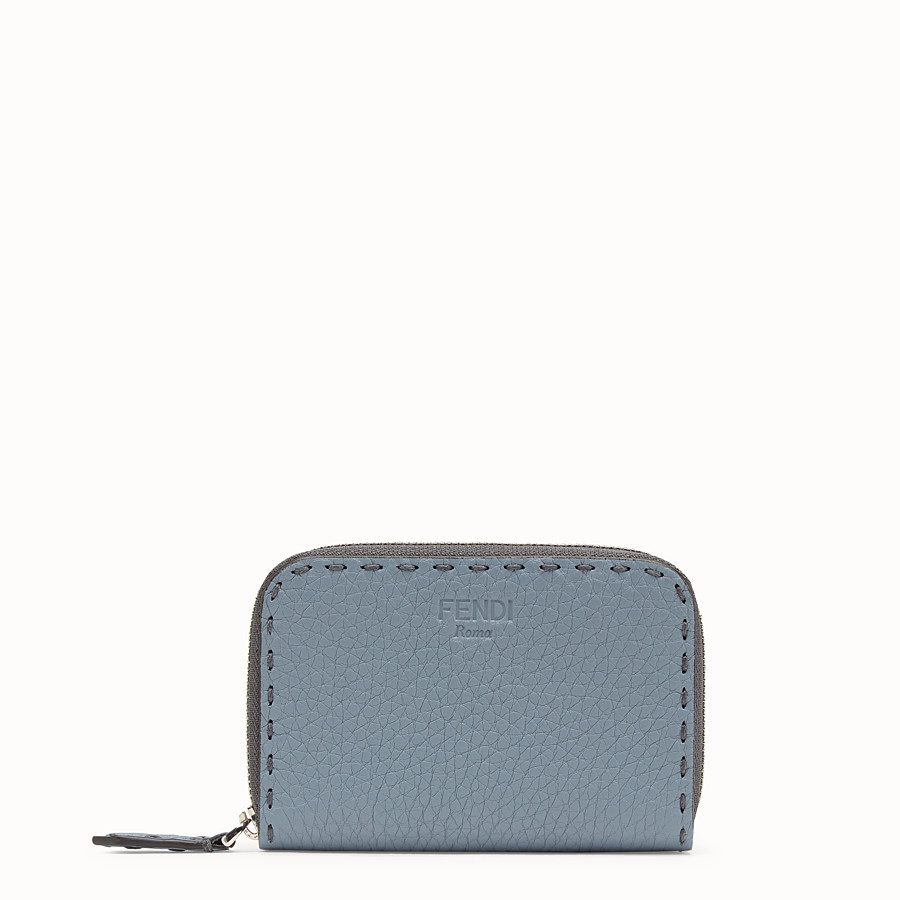 FENDI SMALL ZIP-AROUND - Pale blue leather wallet - view 1 detail