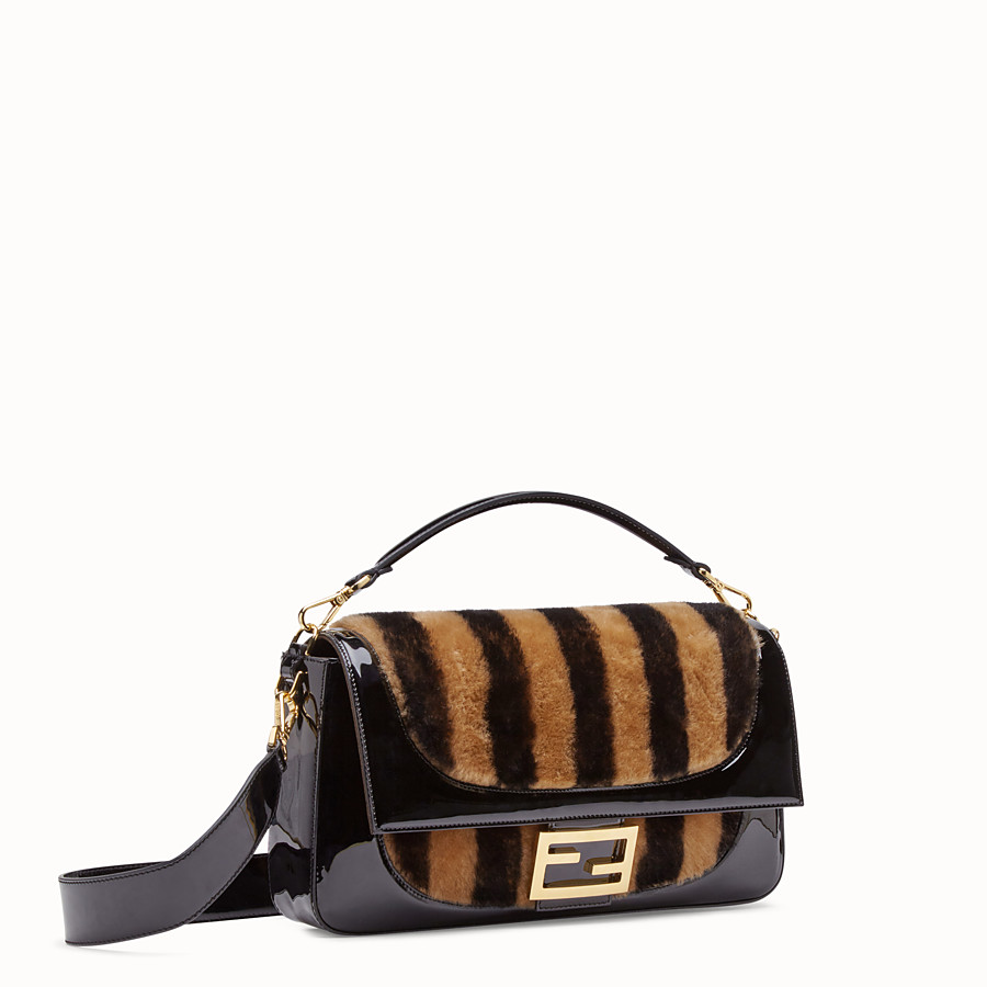 FENDI BAGUETTE LARGE - Multicolor, patent leather and sheepskin bag - view 3 detail