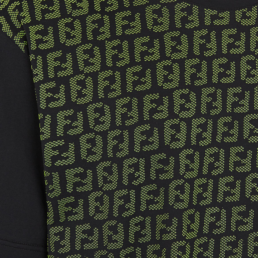 FENDI T-SHIRT - Black cotton jersey T-shirt - view 3 detail