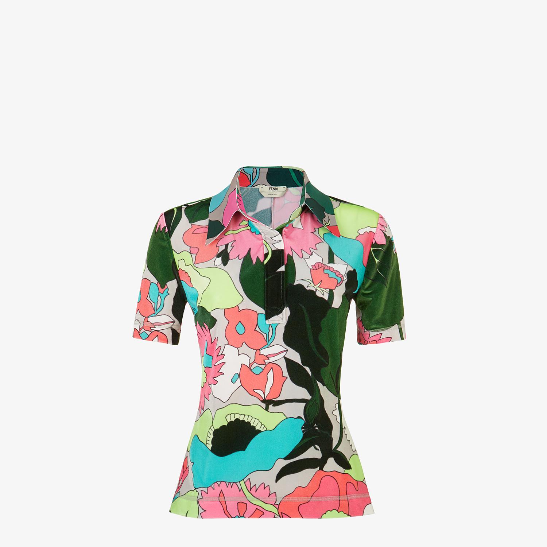 FENDI TOP - Multicolour chenille polo shirt - view 1 detail