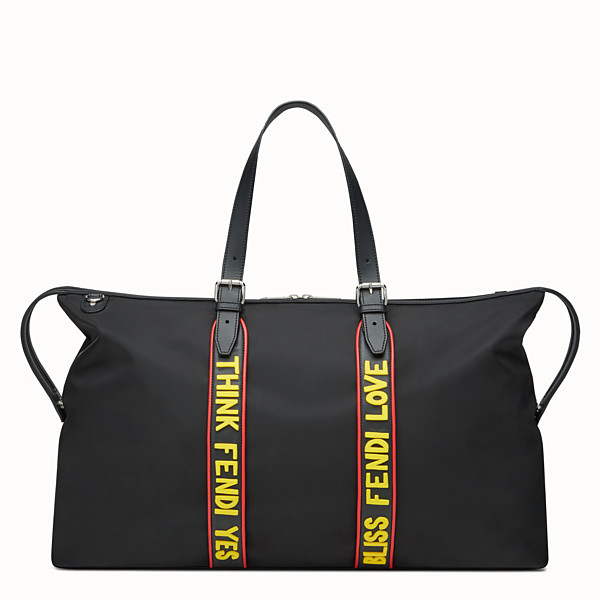 FENDI DUFFEL BAG - Travel bag in black nylon and leather - view 1 small thumbnail