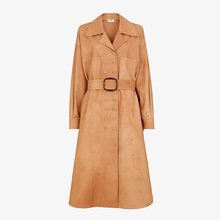 FENDI OVERCOAT - Brown cotton trench coat - view 1 detail