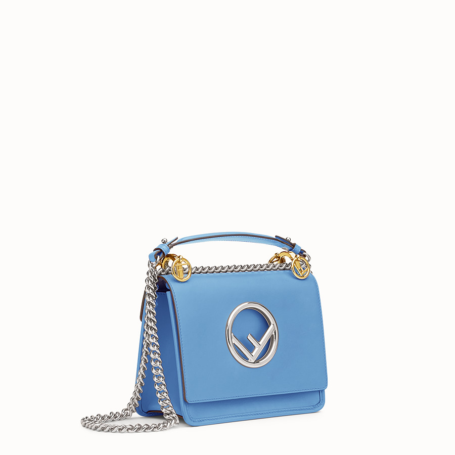 FENDI KAN I F SMALL - Light blue leather mini-bag - view 2 detail