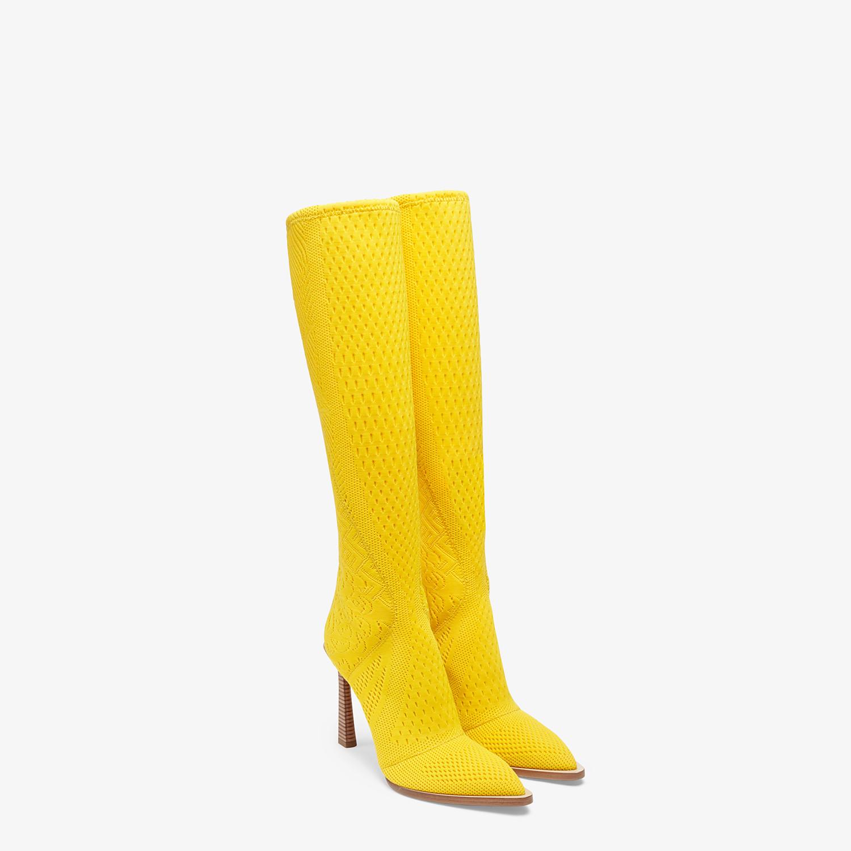 FENDI BOOTS - High-tech yellow jacquard boots - view 4 detail