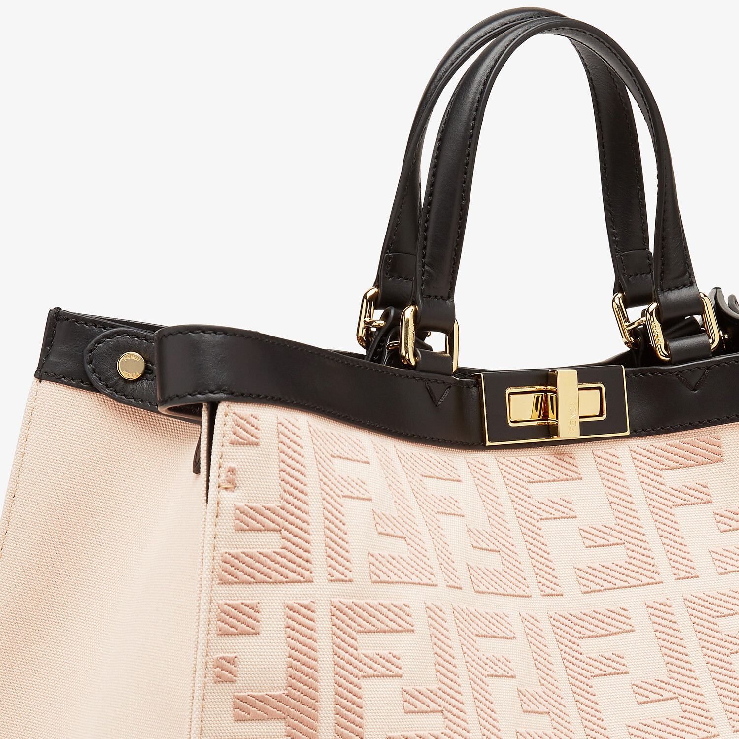 FENDI PEEKABOO X-TOTE - Embroidered pink canvas bag - view 5 detail