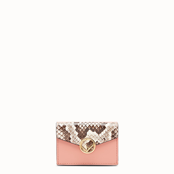 FENDI MICRO TRIFOLD - Pink leather wallet with exotic details - view 1 small thumbnail