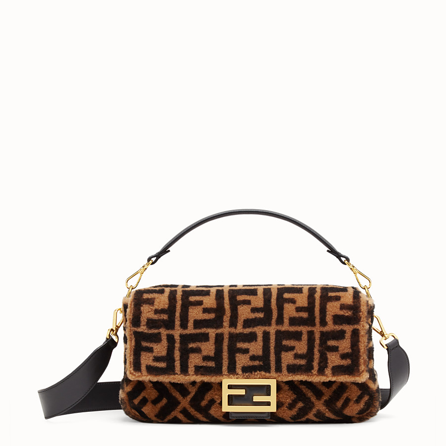 FENDI BAGUETTE LARGE - Brown sheepskin bag - view 1 detail