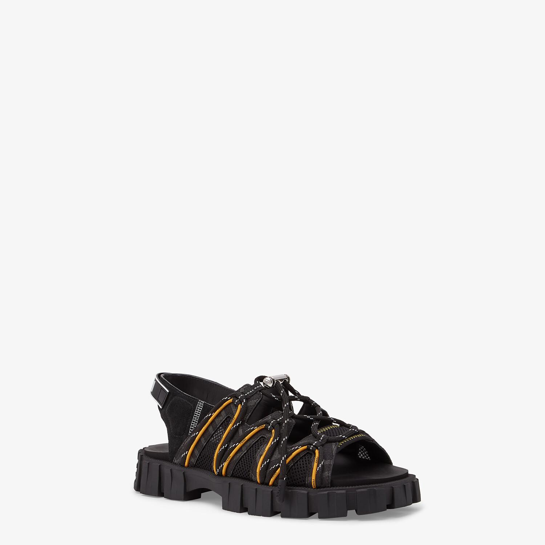 FENDI SANDALS - Black leather and tech mesh sandals - view 2 detail
