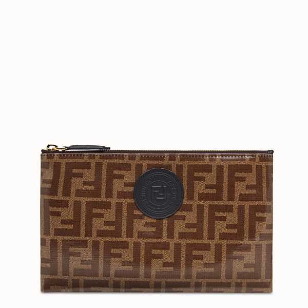 FENDI MEDIUM FLAT POUCH - Brown fabric pouch - view 1 small thumbnail