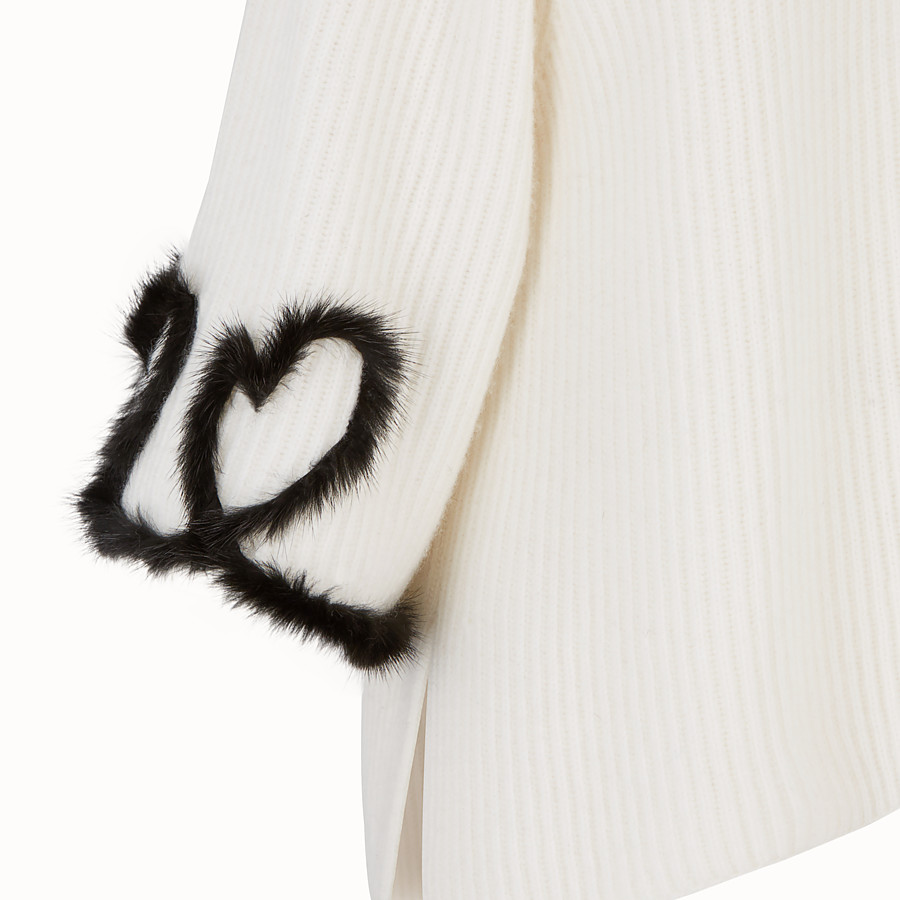FENDI PULLOVER - White wool and cashmere jumper - view 3 detail