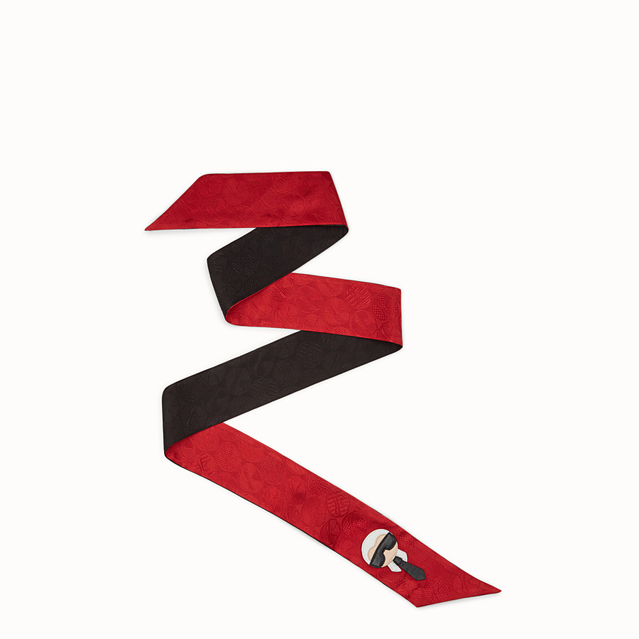 FENDI KARLITO WRAPPY - Black and red silk bandeau - view 1 detail