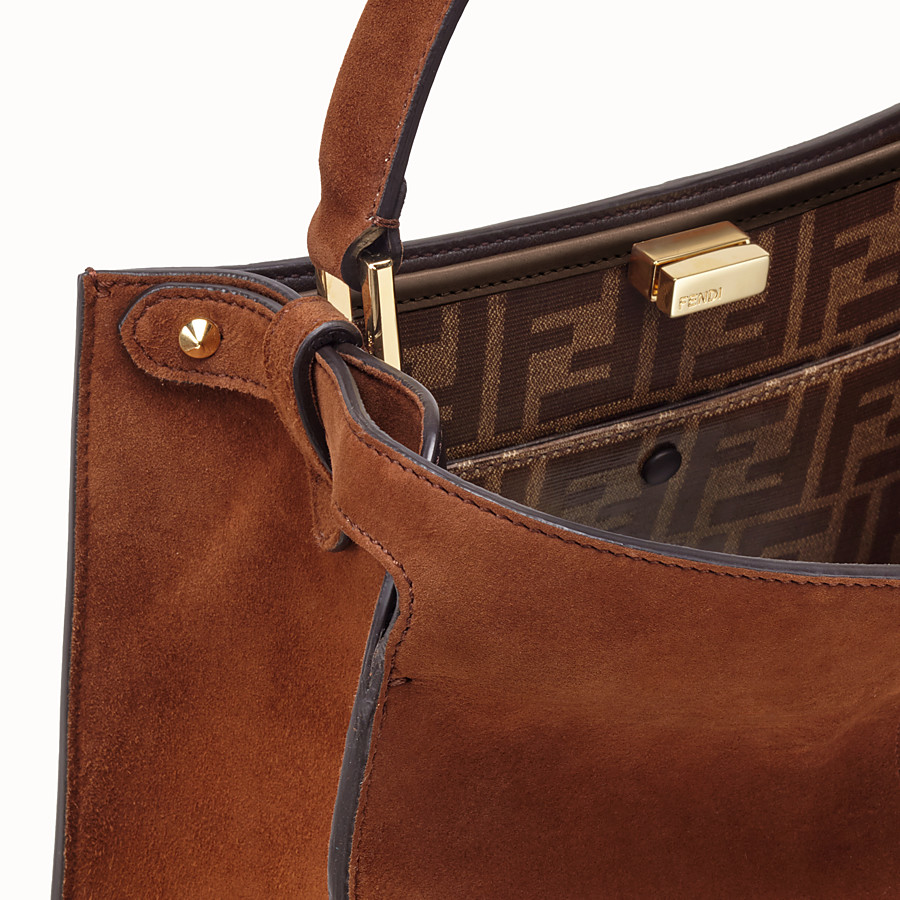 FENDI PEEKABOO X-LITE REGULAR - Brown suede bag - view 7 detail
