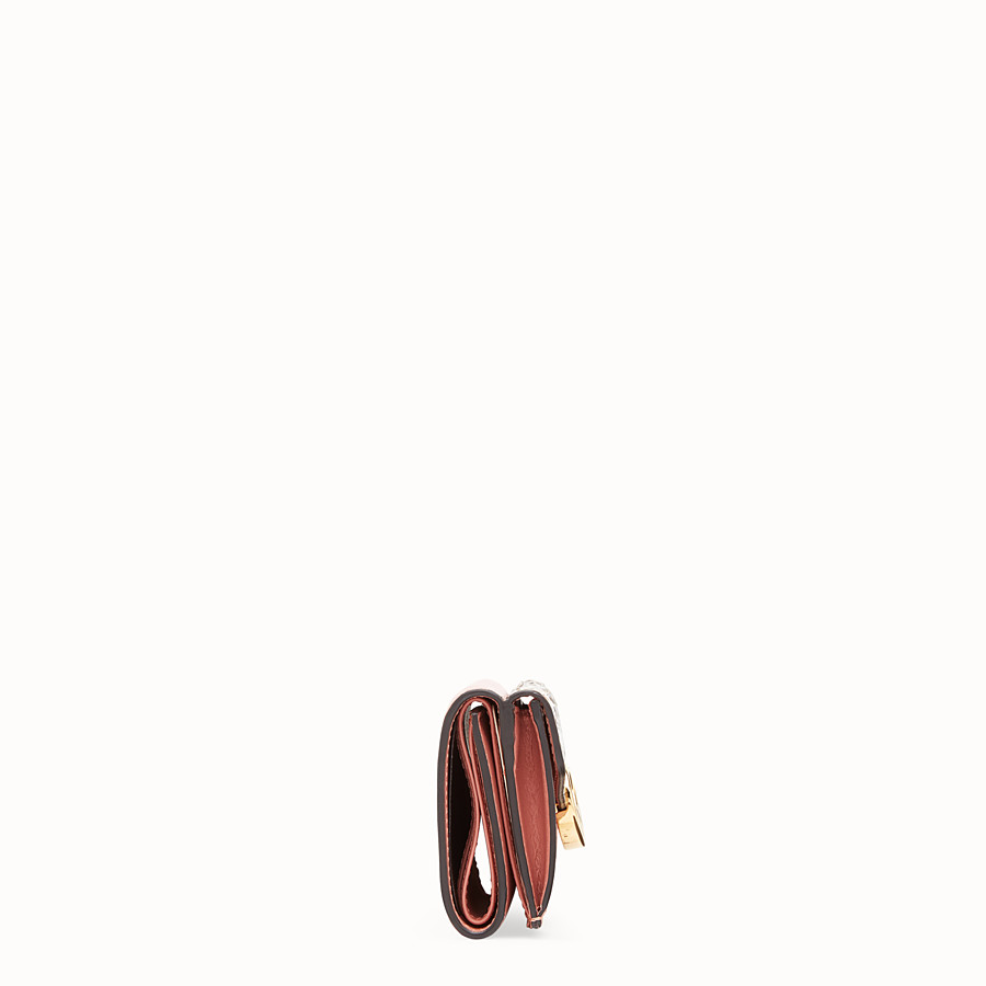 FENDI MICRO TRIFOLD - Pink leather wallet with exotic details - view 3 detail