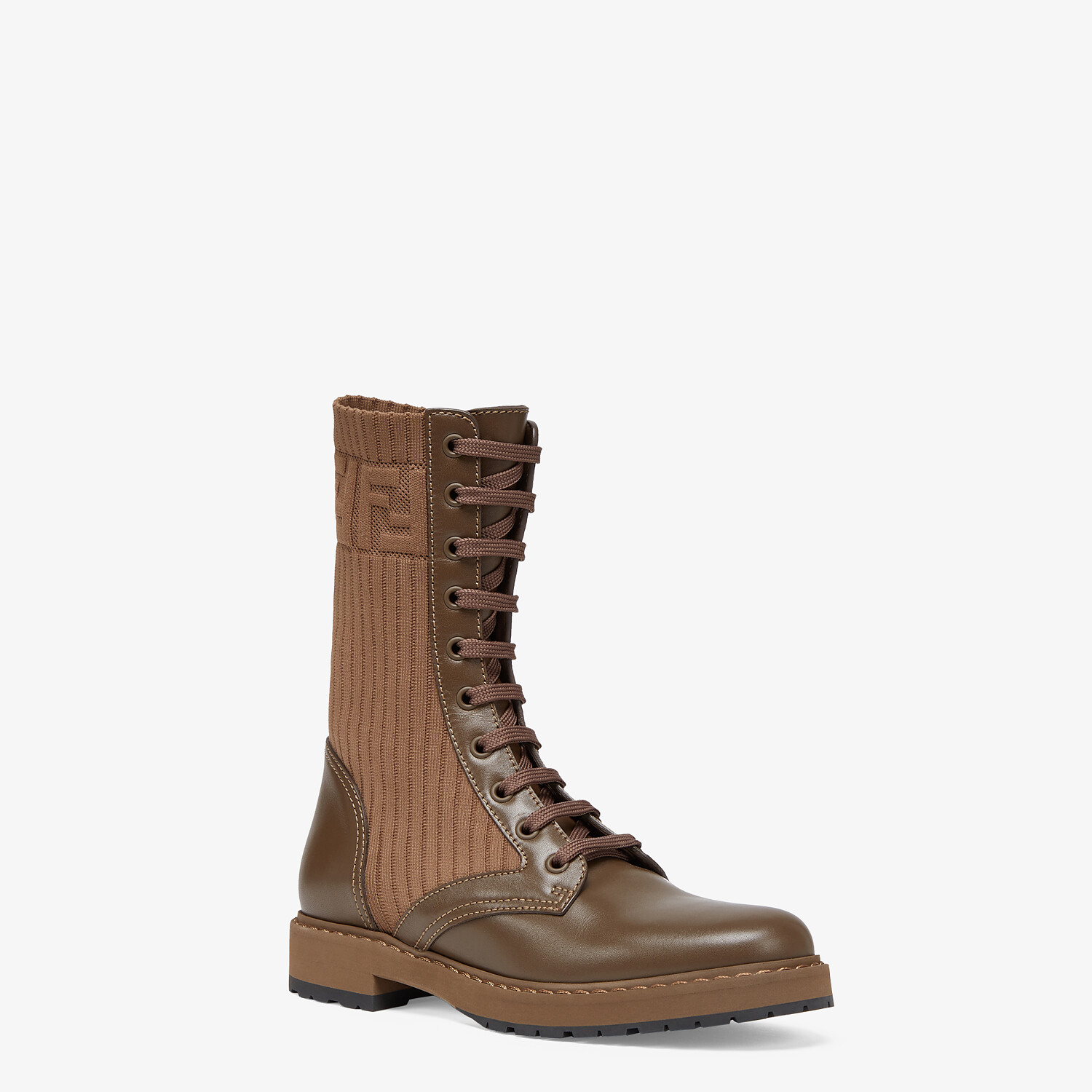 FENDI ROCKOKO - Brown leather biker boots with stretch fabric - view 2 detail