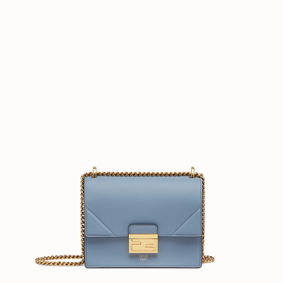 FENDI KAN U SMALL - Light blue leather mini-bag - view 1 detail