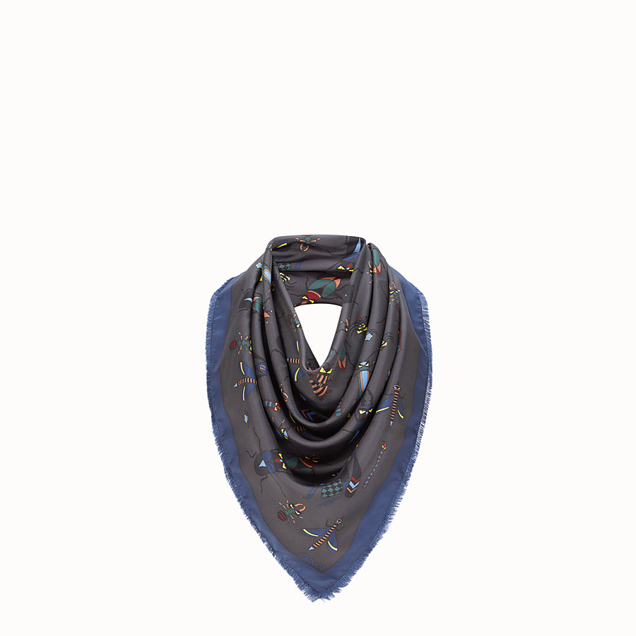 FENDI KEFFIYEH - Grey silk scarf - view 1 detail