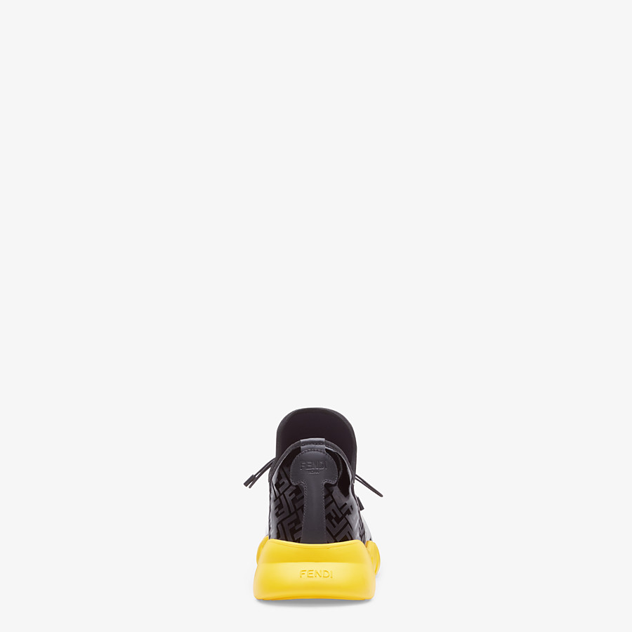 FENDI SNEAKERS - High-tops in black patent leather and fabric - view 3 detail