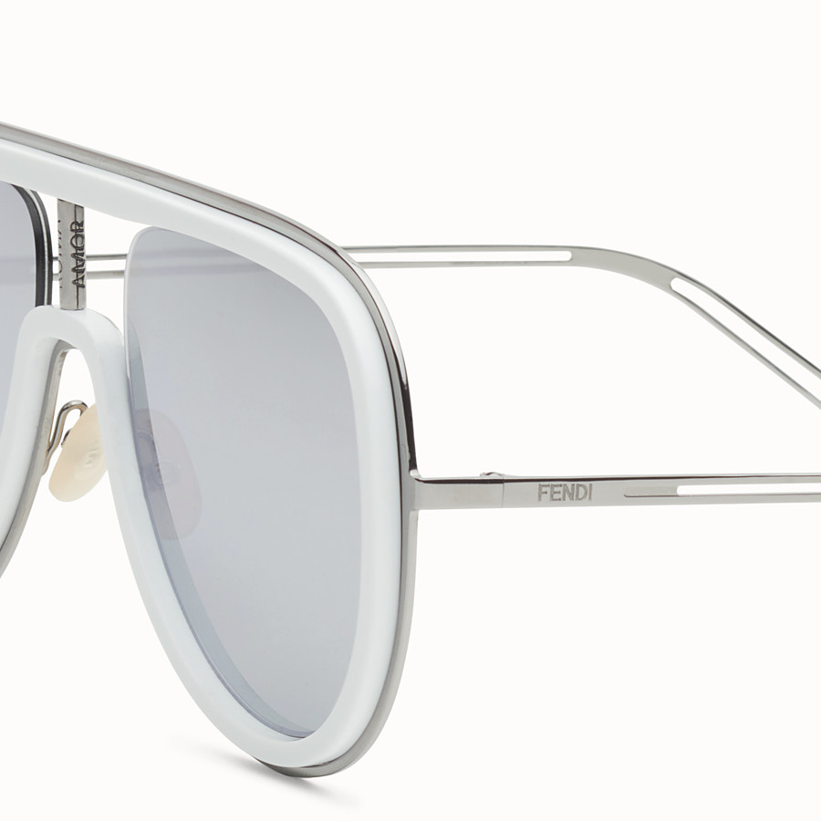 FENDI FUTURISTIC FENDI - White and ruthenium sunglasses - view 3 detail