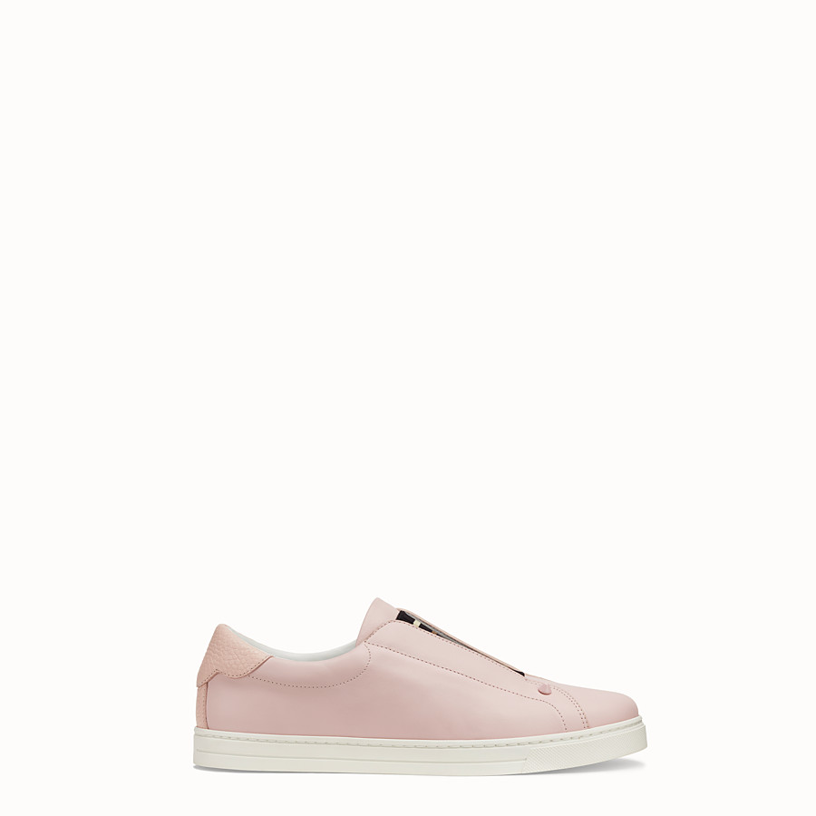 FENDI SNEAKERS - Pink leather slip-ons - view 1 detail