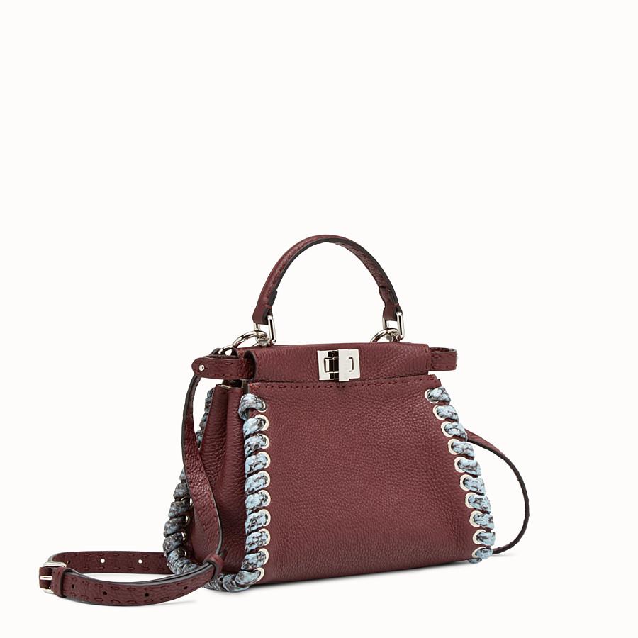 FENDI PEEKABOO MINI - Burgundy Selleria handbag with weave - view 2 detail