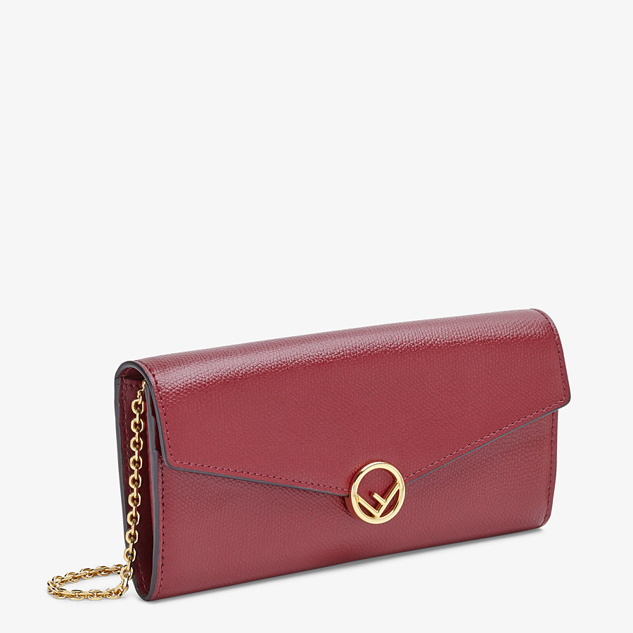 FENDI CONTINENTAL WITH CHAIN - Burgundy leather wallet - view 2 detail