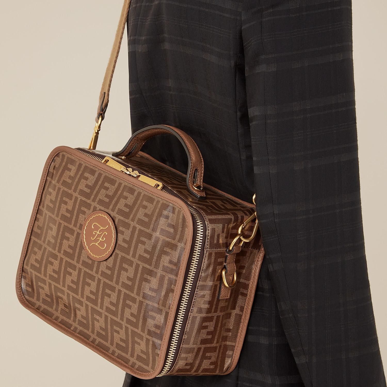 FENDI SMALL TRAVEL BAG - Large brown fabric bag - view 6 detail