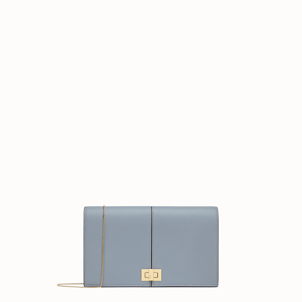 FENDI WALLET ON CHAIN - Pale blue leather minibag - view 1 small thumbnail