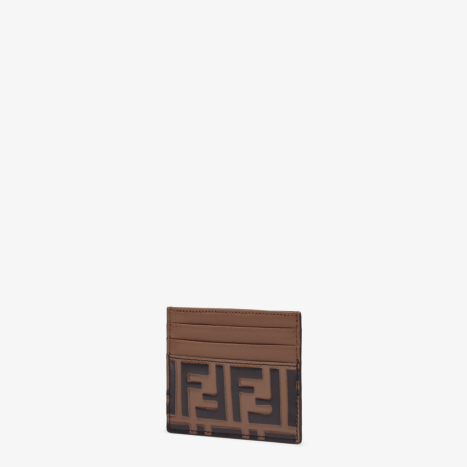 FENDI CARD HOLDER - Brown leather flat business card holder - view 2 detail