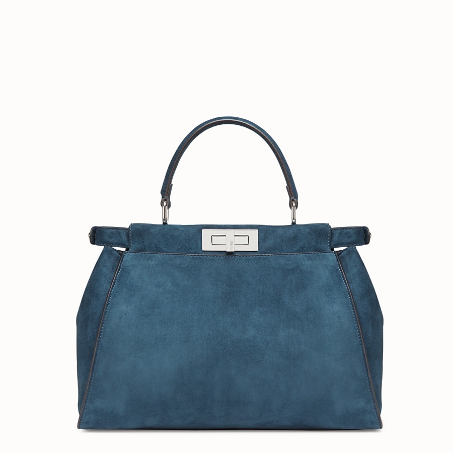 FENDI PEEKABOO ICONIC MEDIUM - blue suede bag with exotic details - view 4 detail