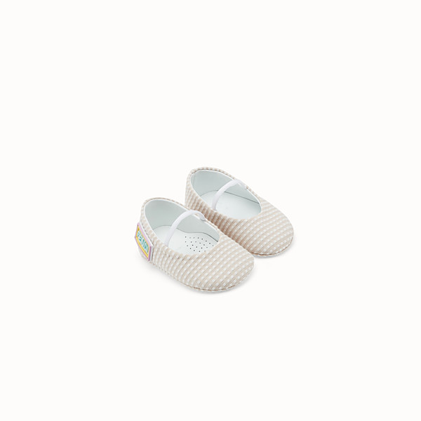 FENDI BALLERINAS - Quinoa colour jacquard fabric baby ballerinas - view 1 small thumbnail