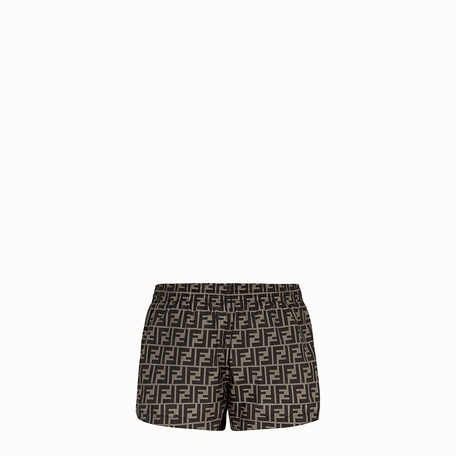 FENDI SWIM SHORTS - Brown fabric shorts - view 2 detail